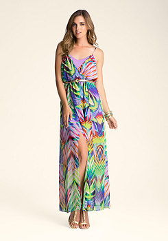 bebe Surplice Printed Maxi Dress