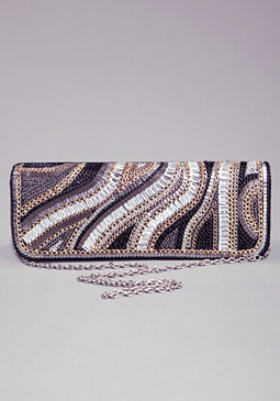 bebe Mixed Metal Clutch