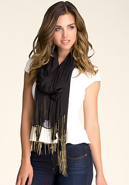 bebe Chain & Spike Edged Scarf