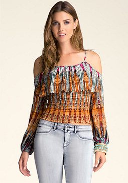 bebe Printed Smocked Peasant Top