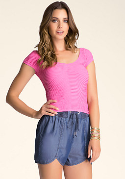 bebe Textured Crop Top