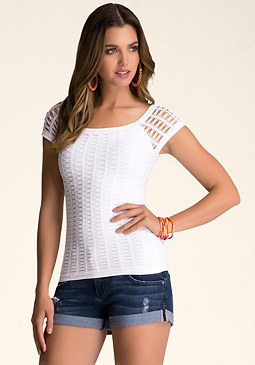 Open Stitch Top at bebe