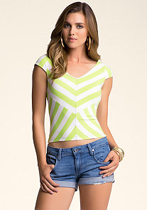 STRIPED CAP SLEEVE CROP TOP at bebe