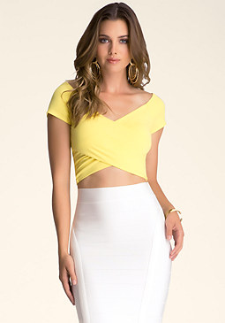 Off Shoulder Wrap Crop Top at bebe