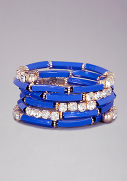 bebe Bar & Crystal Wrap Bracelet