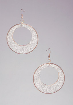 bebe Cutout Geo Glitter Earrings