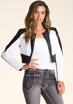 bebe Scuba Ribbed Crop Jacket