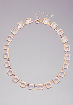 bebe Clear Square Necklace