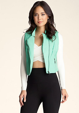 Quilted Moto Vest at bebe