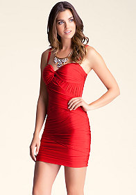bebe Shirred Wrap Panels Dress