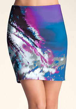 bebe Printed Scuba Knit Skirt
