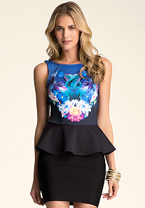 Print Peplum Top at bebe