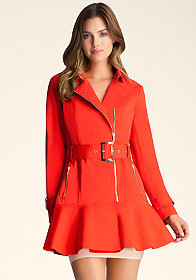 Flare Skirt Trench Jacket at bebe