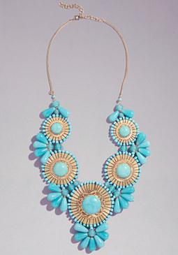 bebe Tribal Gems Bib Necklace