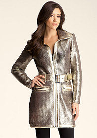 bebe Metallic Knit Foil Jacket