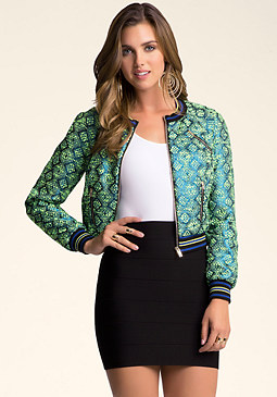 bebe Cropped Baseball Jacket