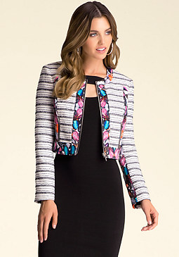 Tweed Print Jacket at bebe