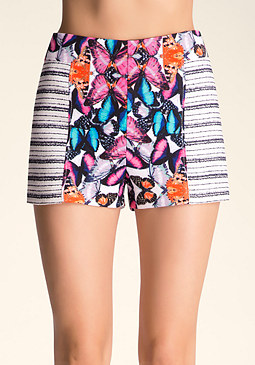 bebe Printed Tweed Shorts