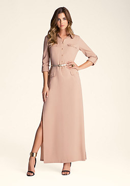 bebe Button Front Maxi Dress