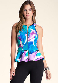 bebe Printed Zip Up Peplum Tank
