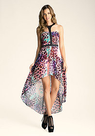 bebe Hi Low Printed Flowy Dress