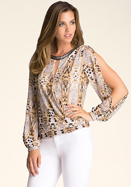 bebe Printed Cold Shoulder Tunic