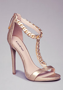 T-Strap Chain Sandals at bebe