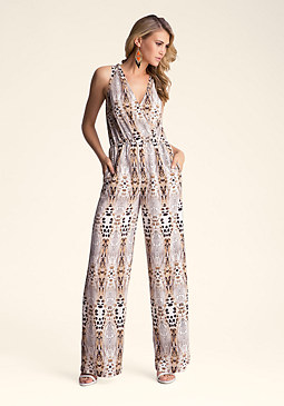 bebe Printed Open Back Jumpsuit