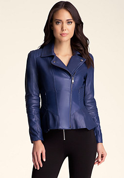 bebe Peplum Leather Moto Jacket