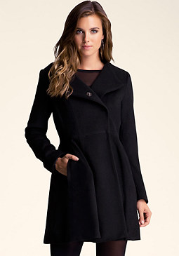 bebe Fit & Flare Wool Coat