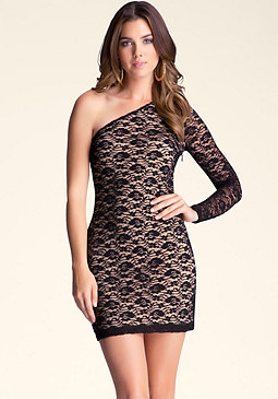 bebe Lace One-Shouldered Dress