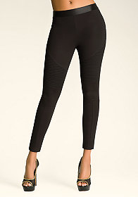 bebe Ribbed Block Leggings