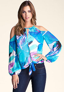 Tie-Front Cold Shoulder Top at bebe