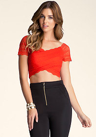 bebe Lace Wrap Around Crop Top