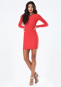 bebe Raglan Sleeve Bodycon Dress