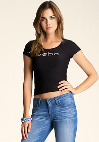 bebe Open Back Ottoman Crop Top