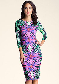 Printed Midi Bodycon Dress at bebe