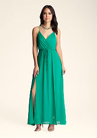 bebe Double Slit Surplice Maxi