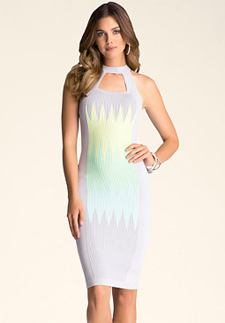 bebe Zig Zag Midi Dress