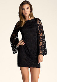 bebe Bell Sleeve Lace Dress