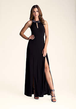 bebe Keyhole Gown with Necklace