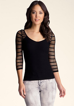 bebe Mesh Detail Textured Top