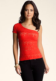 bebe One Shoulder Double Lace Top