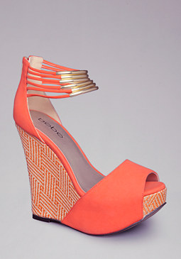 bebe Thora Metal Ankle Wedge