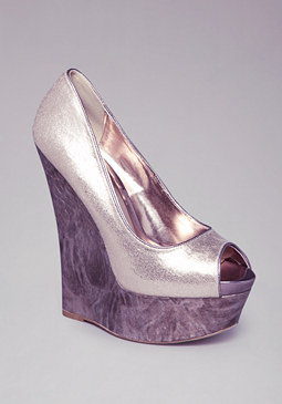 bebe Metallic Peeptoe Wedge