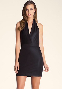 bebe Halterneck Waistband Dress