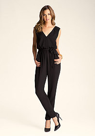 V Neck Self-Tie Jumpsuit at bebe