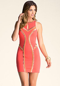 RACERBACK EMBELLISHED DRESS at bebe
