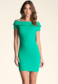 bebe Off Shoulder Bodycon Dress