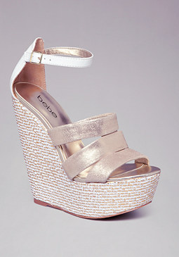 LANYA BASKETWEAVE WEDGES at bebe